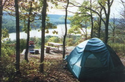 View from campsite at Nelson Dewey